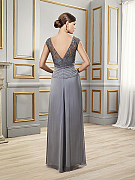 ValStefani MB7517 designer chiffon mother of the bride evening gown with cap sleeves and semi-revealing V-back for deluxe weddings