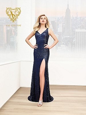 Val Stefani 2822RB eye-catching hollywood starlet sequin evening gown