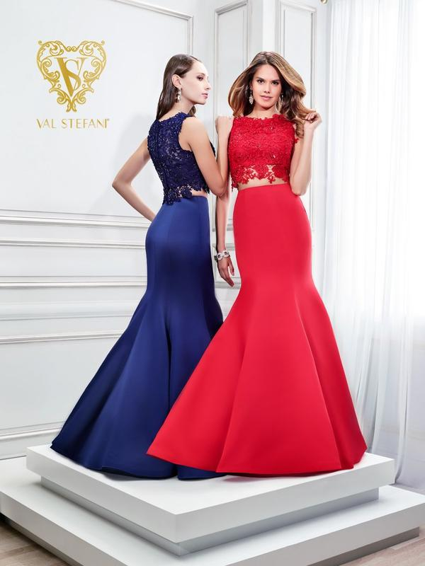 Val Stefani 2827RB best selling two-piece lace and mikado mermaid prom gown