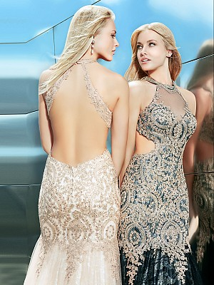 Val Stefani 2852RX deep open back mermaid prom dress with cutouts