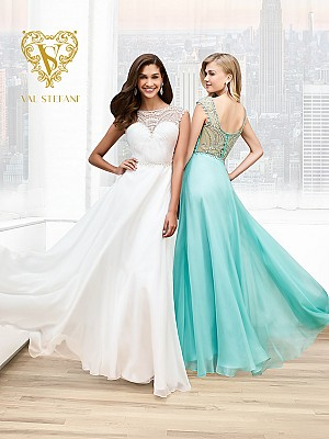 Val Stefani Prom 3011RE beaded illusion scoop back prom dress with cap sleeves