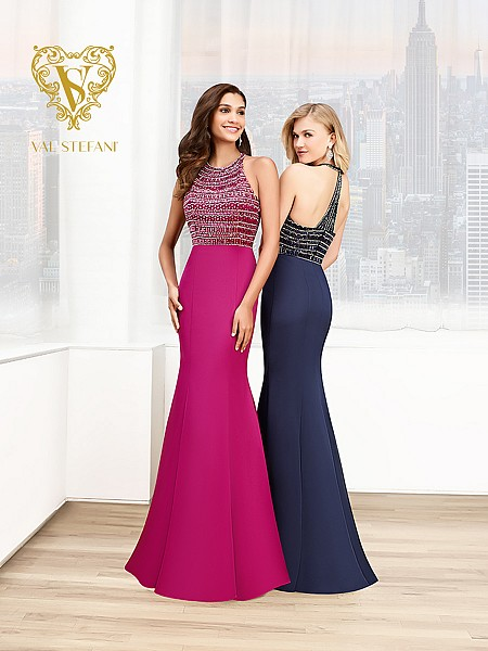 Val Stefani Prom 3012RG elegant satin mermaid gown for any red carpet event