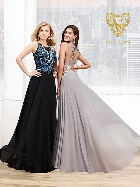 Val Stefani Prom 3014RE vibrant embroidered evening gown with dual keyhole back