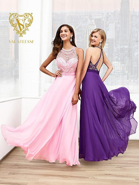 Val Stefani Prom 3015RE silky chiffon prom dress with revealing jeweled back