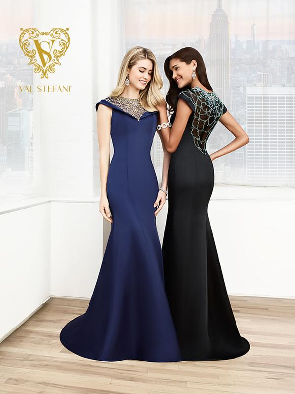 Val Stefani Prom 3016RE modest chic satin mermaid gown with cap sleeves