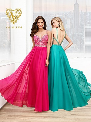 Val Stefani Prom 3018RE beaded sweetheart prom dress with strappy low back