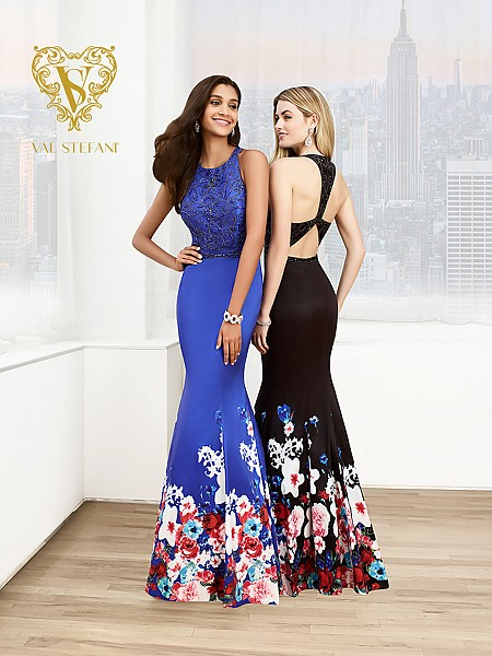 Val Stefani Prom 3021RG beaded halter mermaid prom dress with floral printed skirt