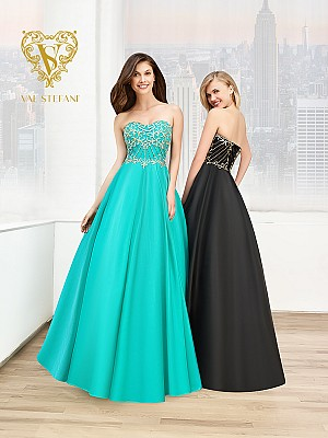 Val Stefani Prom 3023RE strapless sweetheart ball gown with gold embroidery