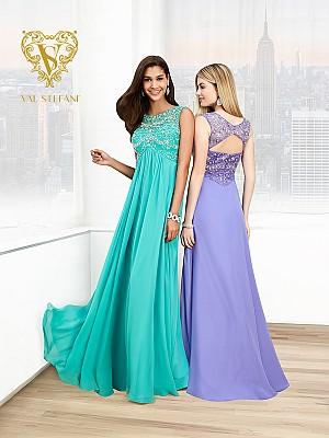 Val Stefani Prom 3024RG embroidered empire waist a-line prom dress with keyhole back