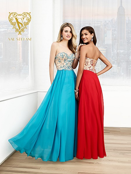 Val Stefani Prom 3026RE strapless two-tone chiffon prom dress with lace-up back