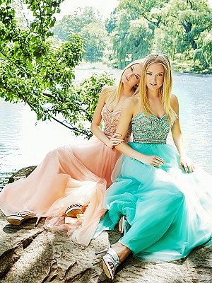Val Stefani Prom 3027RE stunning scallop beaded natural waist formal dress