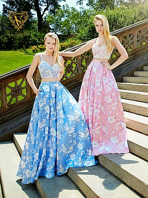 Val Stefani Prom 3030RB two-piece mikado ball gown with floral design & pockets