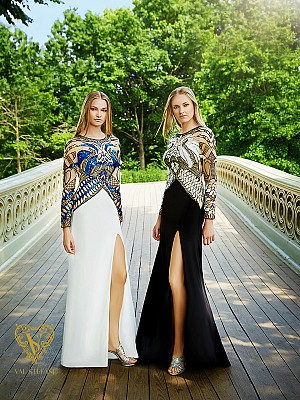 Val Stefani Prom 3031RE designer evening gown with beaded illusion long sleeves