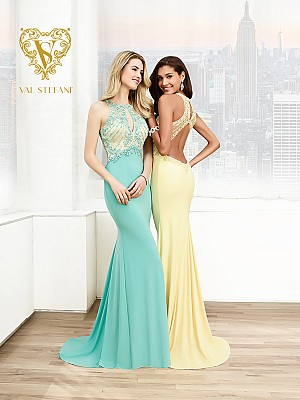 Val Stefani Prom 3033RE chic jewel neck formal gown with keyhole cutouts