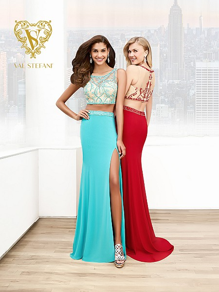 Val Stefani Prom 3034RE vivid two-tone two-piece paegent dress with front slit