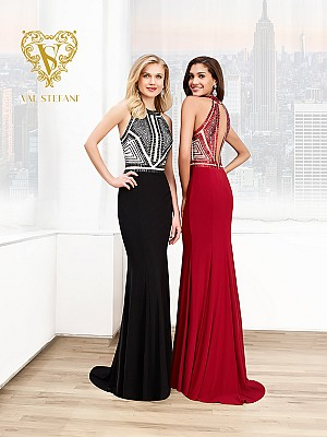 Val Stefani Prom 3035RE geometric jewel neckline evening dress with keyhole back