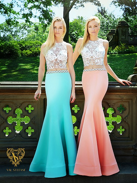 Val Stefani Prom 3036RE daring sheer illusion crop top with jersey satin trumpet skirt