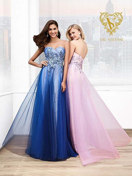 Val Stefani Prom 3037RB strapless sweetheat chantilly lace & net prom dress