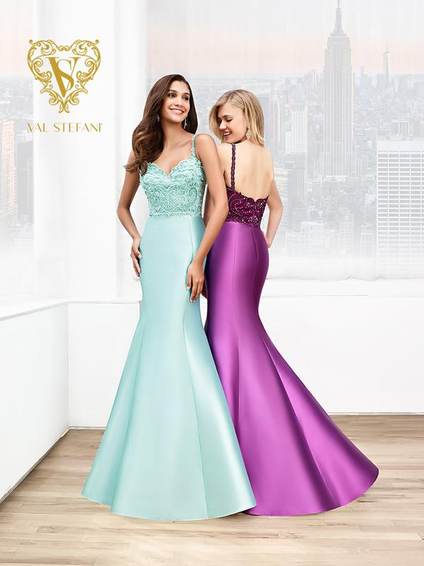 Val Stefani Prom 3041RW elegant natural waist mikado evening gown with straps