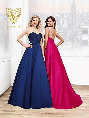 Val Stefani Prom 3042RN fairytale a-line gala gown with bedazzled illusion neckline