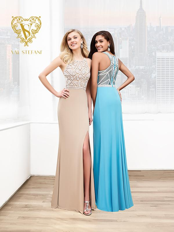 Val Stefani Prom 3043RB classy front slit jersey prom dress with geometric beading