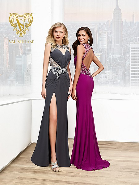 Val Stefani Prom 3044RE couture embroidered jersey formal gown with keyhole cutouts