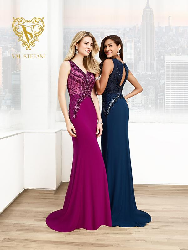 Val Stefani Prom 3045RK elegantly beaded inverted basque waist v-neck evening dress
