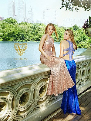 Val Stefani Prom 3047RX dazzling sequins pageant dress with daring illusion raceRBack