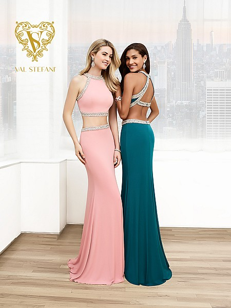 Val Stefani Prom 3048RB slimming two-piece jersey prom gown with keyhole back