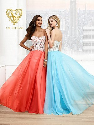 Val Stefani Prom 3049RX crystal white corset bodice a-line prom dress with flowy skirt