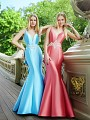 Val Stefani Prom 3054RX slim-fittng mikado gala gown with beaded natural waistline