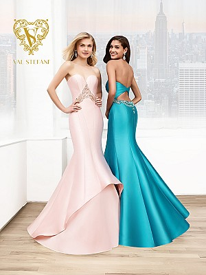 Val Stefani Prom 3056RX lustrous high-low layered prom dress with low keyhole back