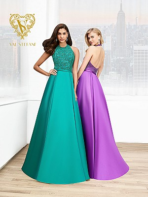 Val Stefani Prom 3058RB jewel neck a-line gala gown with mikado couture waistband
