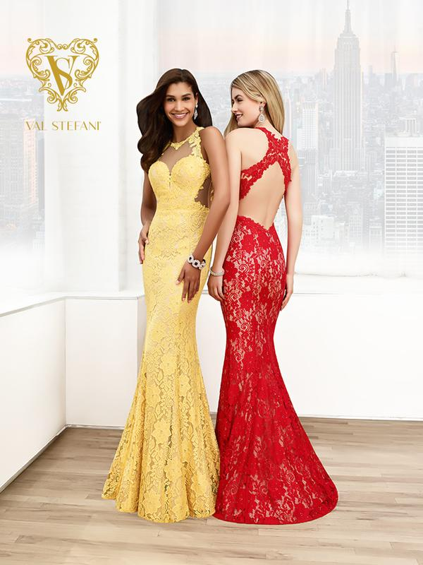 Val Stefani Prom 3061RX lightweight lace mermaid prom dress with revealing open back