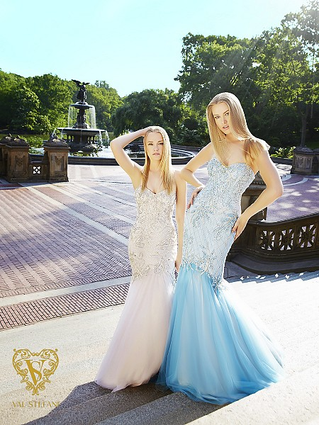 Val Stefani Prom 3070RB beaded sweetheart drop waist mermaid pageant gown