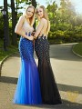 Val Stefani Prom 3071RW bedazzled drop waist prom dress with low open back