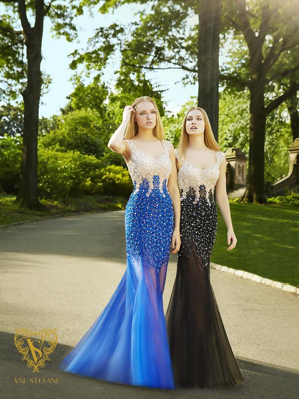 Val Stefani Prom 3071RW sexy beaded net prom dress with classy sheer skirt