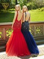 Val Stefani Prom 3072RB vibrant beaded pagent dress with deep open back and tulle skirt