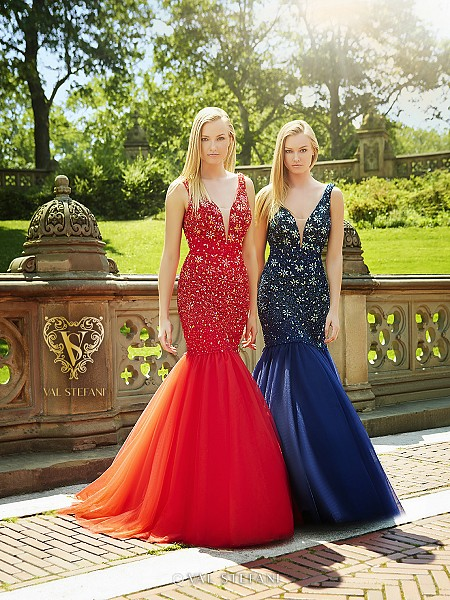 Val Stefani Prom 3072RB bejeweled sweetheart neckline with illusion inset prom dress