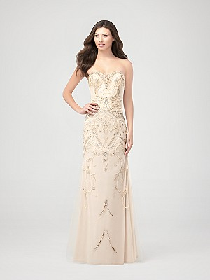 Val Stefani Prom 3261RK glamourous floor length strapless beaded trumpet prom dress with sweetheart neckline