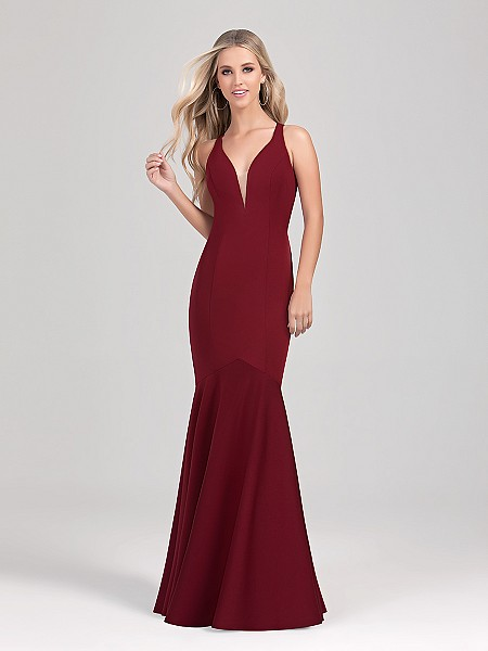 Val Stefani Cocktail 3352RG elegant floor length jersey mermaid evening dress with sexy illusion inset V-neck