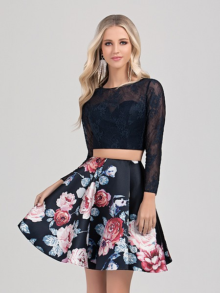 Val Stefani Cocktail 3353RG flirty floral print two-piece crop top homecoming dress with long sleeves