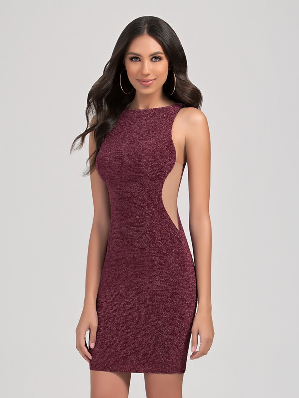 Val Stefani Cocktail 3355RE sexy shimmering glitter jersey short party dress with sheer illusion side panels