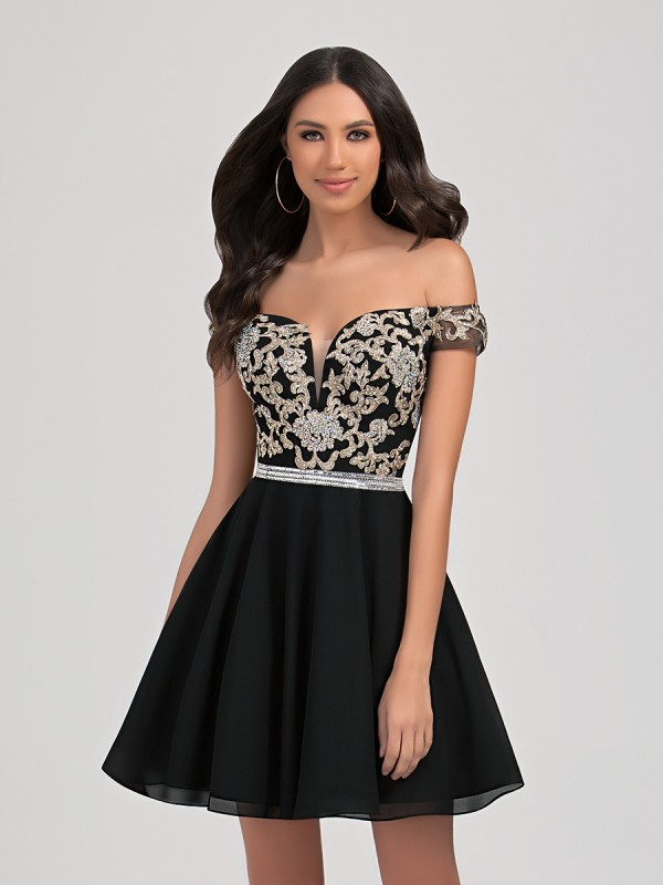 Val Stefani Cocktail 3356RG beaded off-the-shoulder short natural waist chiffon A-line homecoming dress
