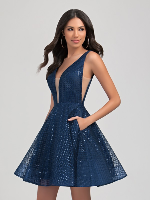 Val Stefani Cocktail 3358RY short sequin A-line homecoming party dress with illusion insets and low V-neck
