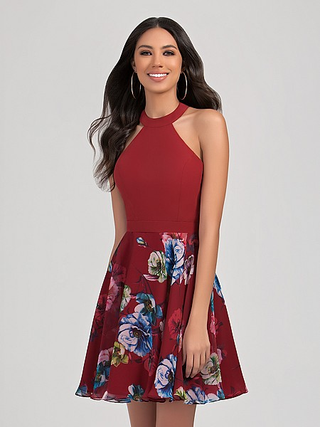 Val Stefani Cocktail 3359RD fun short print chiffon A-line homecoming dress with popular halter neck