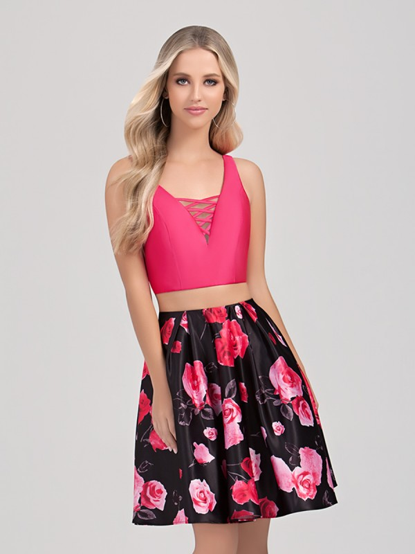 Val Stefani Cocktail 3360RW short two-piece floral print homecoming dress with crisscross V-neck crop-top
