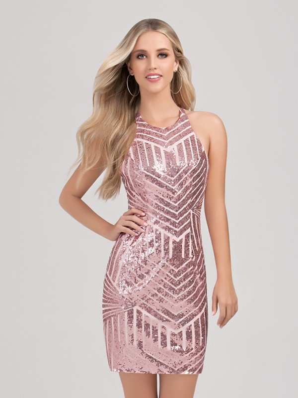 Val Stefani Cocktail 3364RW shimmering sequin short sheath homecoming dress with halter neck