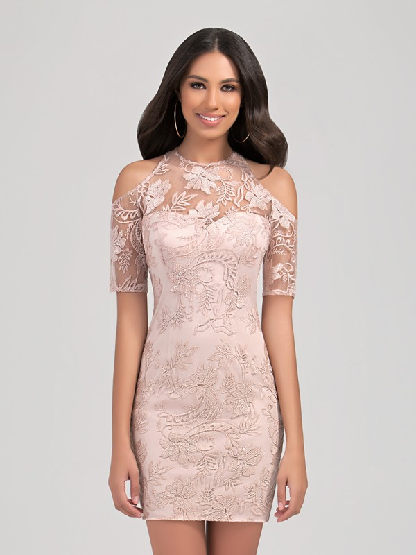 Val Stefani Cocktail 3266RE gorgeous short lace formal dress with modern jewel neck and cold shoulders
