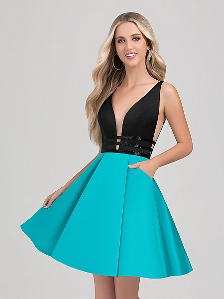 Val Stefani Cocktail 3367RY vibrant short two-tone cocktail ball gown with pockets